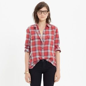 Madewell Ex-Boyfriend Shirt in Cherry Plaid